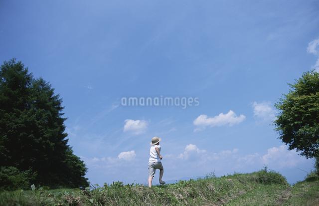 草原に立つ子供の写真素材 [FYI03231337]