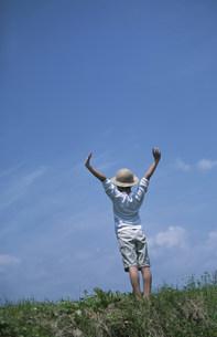 草原に立って伸びをする子供の写真素材 [FYI03231483]