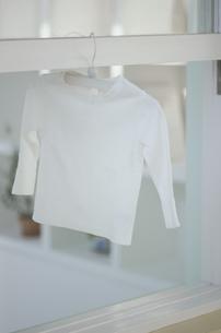 ハンガーにかかった白いTシャツの写真素材 [FYI03232529]
