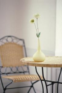 籐のテーブルの上の花瓶にトルコキキョウ2本の写真素材 [FYI03235328]