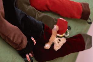 テディベアと靴下の写真素材 [FYI03235439]