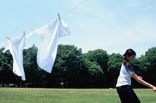 ロープに吊るされた白いTシャツ2枚の写真素材 [FYI03235588]