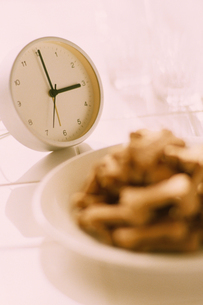 時計と皿のドッグフードの写真素材 [FYI03235676]