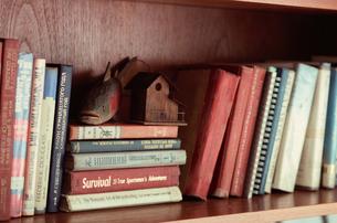 本棚の英字の本と木の置物の写真素材 [FYI03235719]