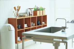 調理台越しの木製の食器棚の写真素材 [FYI03235956]