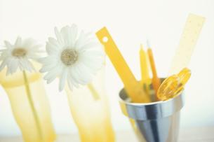 シルバーのコップと黄色いステーショナリーの写真素材 [FYI03236298]