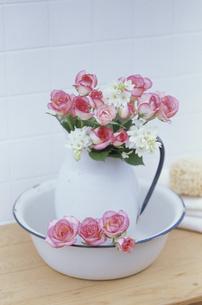 洗面器の中に花を生けた水差しの写真素材 [FYI03236733]