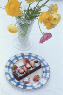 お皿にのせたチョコレートケーキと苺の写真素材 [FYI03236789]