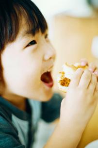 パンを食べる男の子の写真素材 [FYI03238288]
