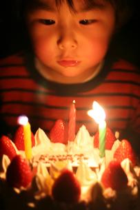 バースデーケーキと男の子の写真素材 [FYI03238354]