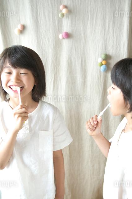 歯を磨く2人の女の子の写真素材 [FYI03238587]