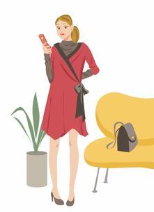 部屋で携帯電話を掛ける女性 イラストのイラスト素材 [FYI03238832]