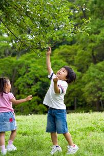 公園で遊ぶ女の子と男の子の写真素材 [FYI03241345]