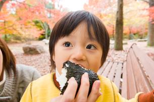 おにぎりを食べる男の子の写真素材 [FYI03241448]