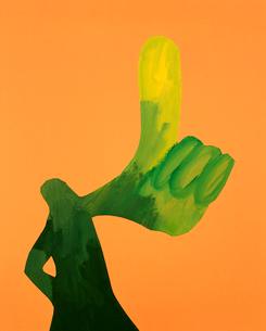 1本指を立てる人のクラフトの写真素材 [FYI03241851]