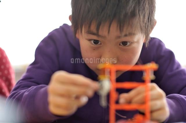 実験装置を組み立ている小学生の写真素材 [FYI03243949]