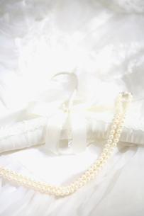 白いハンガーとパールのネックレスの写真素材 [FYI03244745]