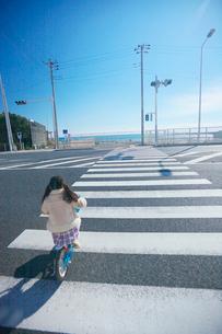 自転車で横断歩道を渡る女の子の後姿の写真素材 [FYI03244769]