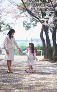 入学式に行く女の子と母親の写真素材 [FYI03244857]