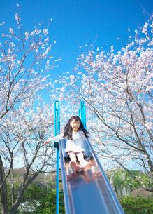 滑り台で遊ぶ女の子と桜の写真素材 [FYI03244871]