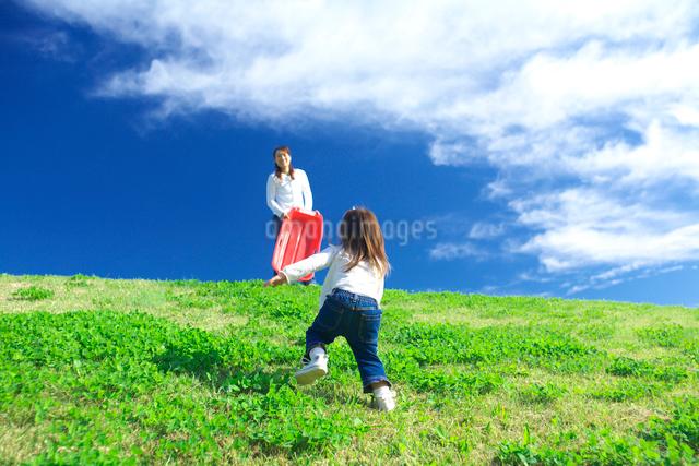 土手を駆け上がる子供と母親の写真素材 [FYI03244976]