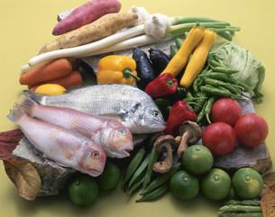 クロダイとアマダイに新鮮野菜の写真素材 [FYI03245361]