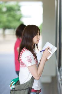 記事板の前でメモを取る若い女性の写真素材 [FYI03245631]