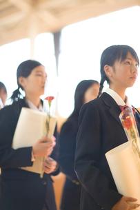 卒業証書と花を持った女子学生の写真素材 [FYI03245900]