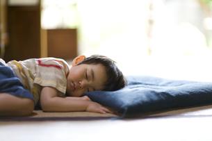 座布団を枕にして眠る男の子の写真素材 [FYI03246746]