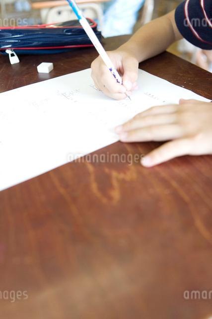 授業で勉強する男の子の手元の写真素材 [FYI03246843]