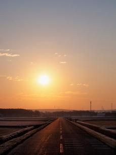 朝日と道の写真素材 [FYI03248068]