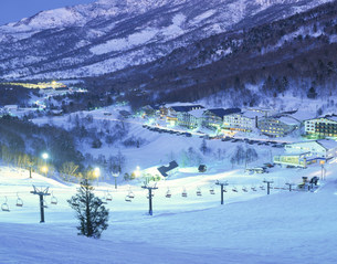 一ノ瀬スキー場の夜景の写真素材 [FYI03248162]