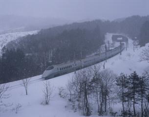 冬の丘陵をゆく山形新幹線の写真素材 [FYI03255081]