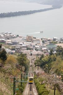 傘松公園の桜とケーブルカーの写真素材 [FYI03255852]