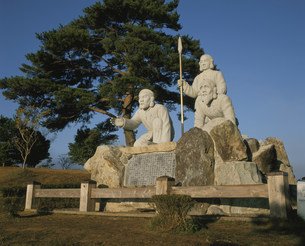 刈千切唄発祥の地記念像の写真素材 [FYI03261014]