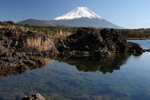 本栖湖の溶岩岸と富士山の写真素材 [FYI03263339]