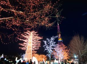大通公園とテレビ塔 札幌雪まつり会場の写真素材 [FYI03267776]