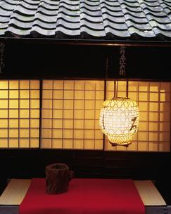 鮎茶屋の夕景の写真素材 [FYI03270570]