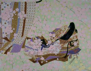 王朝女性の和紙のイラスト素材 [FYI03270613]