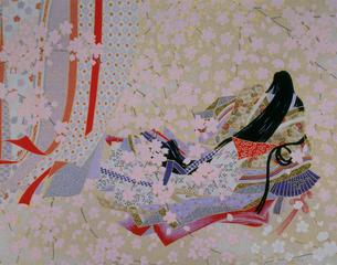 王朝女性の和紙のイラスト素材 [FYI03270616]