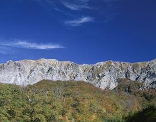 紅葉と大山南壁 二の沢 大山町の写真素材 [FYI03270880]