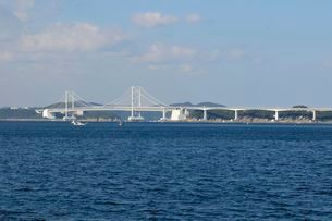 鳴門海峡から大鳴門橋を望むの写真素材 [FYI03286217]
