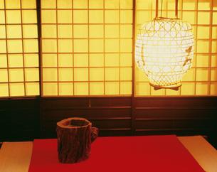 鮎茶屋の夕景の写真素材 [FYI03286890]