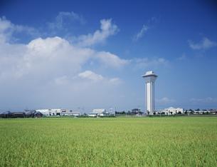 虹の塔と実りの田の写真素材 [FYI03290645]
