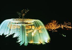 噴水とクリスマスイルミネーション 昭和記念公園の写真素材 [FYI03297807]