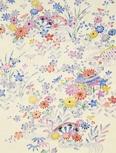 着物柄 花と水草のイラスト素材 [FYI03298132]