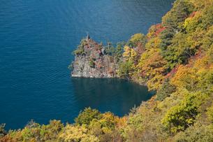 十和田湖畔烏帽子岩の紅葉 瞰湖台より望むの写真素材 [FYI03299551]