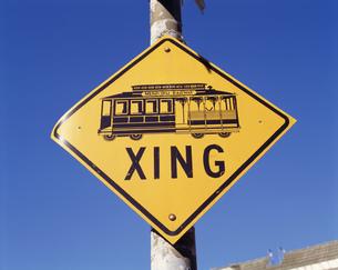 ケーブルカーの道路の標識の写真素材 [FYI03305575]