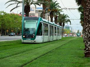 芝生の上を走る電車の写真素材 [FYI03310482]