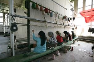 ホータンの絨毯工場の写真素材 [FYI03313092]